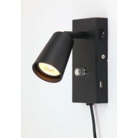 REED Sengelampe 6W LED Sort med USB uttak med dimmer