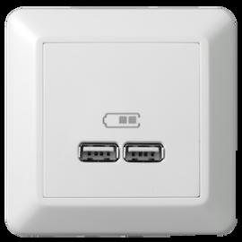 Elko RS16 USB LADER 2,1A POLAR HVIT 2 PORTER