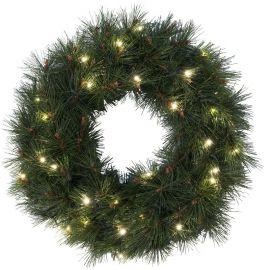 Krans diameter 50 cm, Russian Pine, 30LED, Grønn