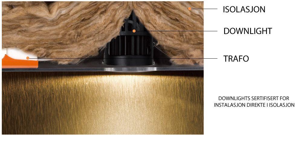 Downlight LED rett i isolasjon