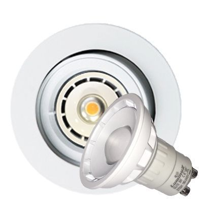 LED downlight GU10 5W 110° Lysspredning 2700K Matt hvit armatu