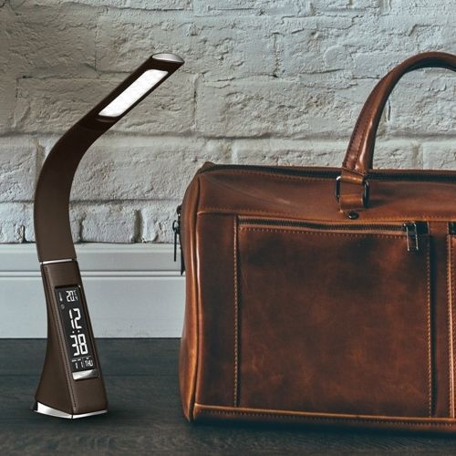 U2 6W Skinn Texture LED dimbar bordlampe med Temperatur og kalendervisning