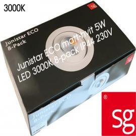 SG Junistar ECO 8 pack inkl driver Matt hvit 5W LED 3000K Ra90