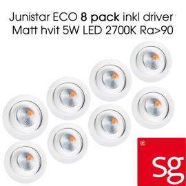 SG Junistar ECO 8 pack inkl driver Matt hvit 5W LED 2700K Ra90