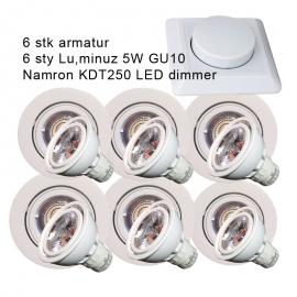 LuminuZ LED downlights pakke med 6 Stk 5W GU10, MED DIMMER