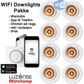 WIFI downlights pakke 8stk Warmdim