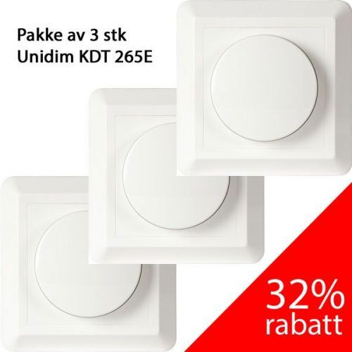 3 pack UniDim Dimmer 265W KDT-265E 1-Pol